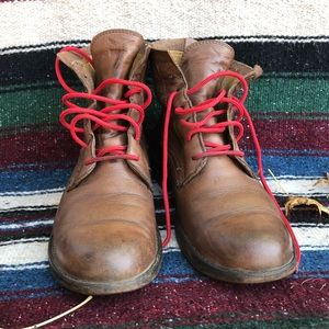 Frye brown lace up boots